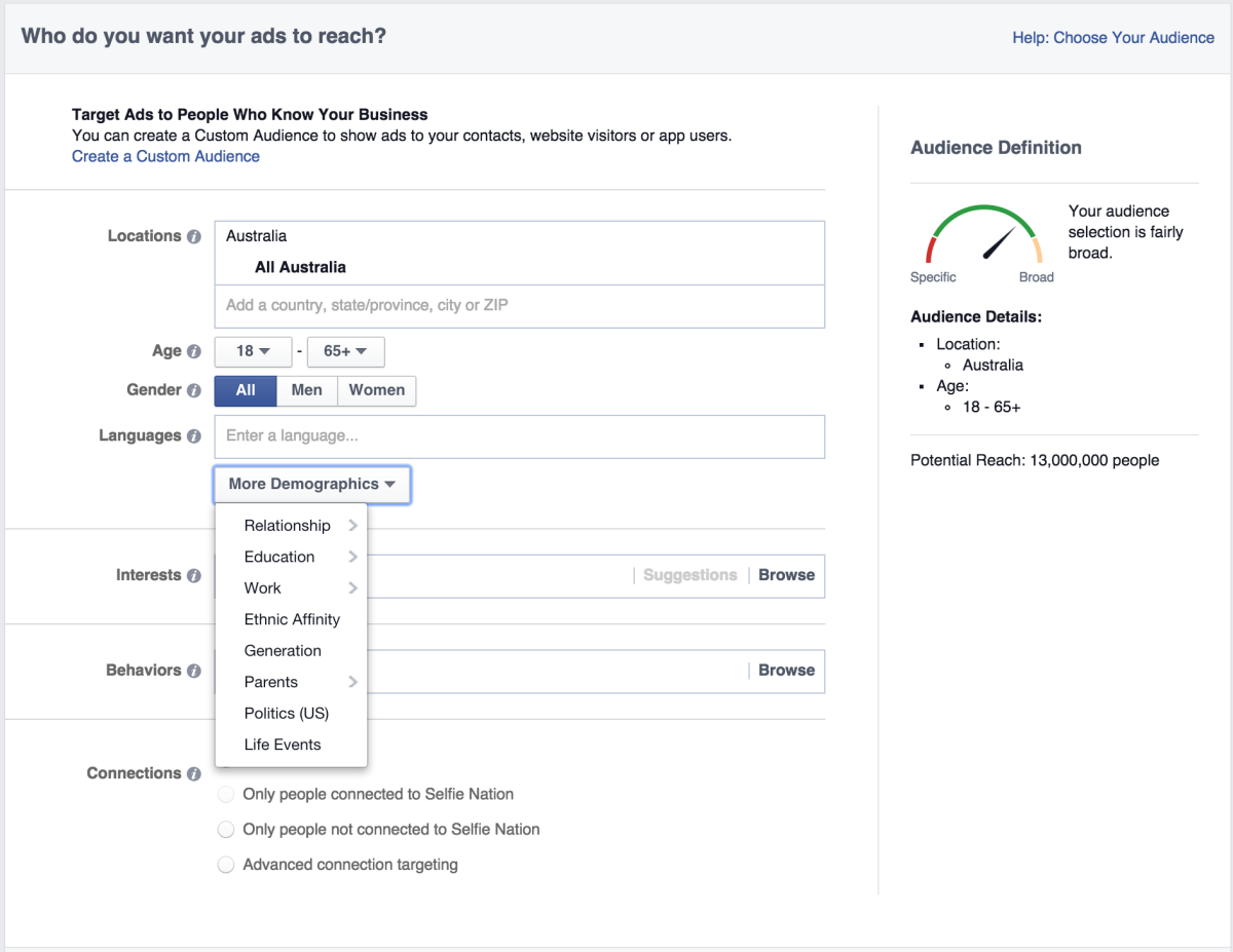 The list of options Facebook provides to advertisers - their primary source of income.